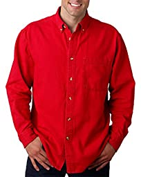 UltraClub Men\'s Long-Sleeve Cypress Denim with Pocket (Red) (4X-Large)