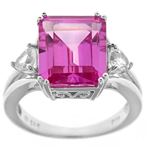 Sterling Silver Created Pink Sapphire and Created White Sapphire Octagon Ring by Amazon Curated Collection