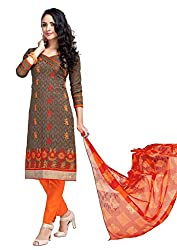Craftliva Brown Embroidery Cotton Jacquard Dress Material