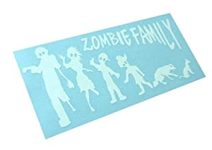 Zombie Stick Figure Family Decal Zombies Window Funny Vinyl Decal (Come With Zombie Hunter Permit Decal)