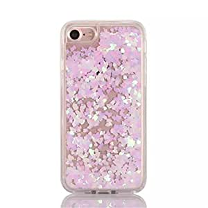 iPhone 7 Case, Naoho New Fashion Bling Star Love Shape Liquid Case for iPhone 7 4.7inch Phone Stylish Shiny Glitter Sparkle Stars Dynamic Quicksand Flowing Case Soft Bumper Clear Shell (White Love)