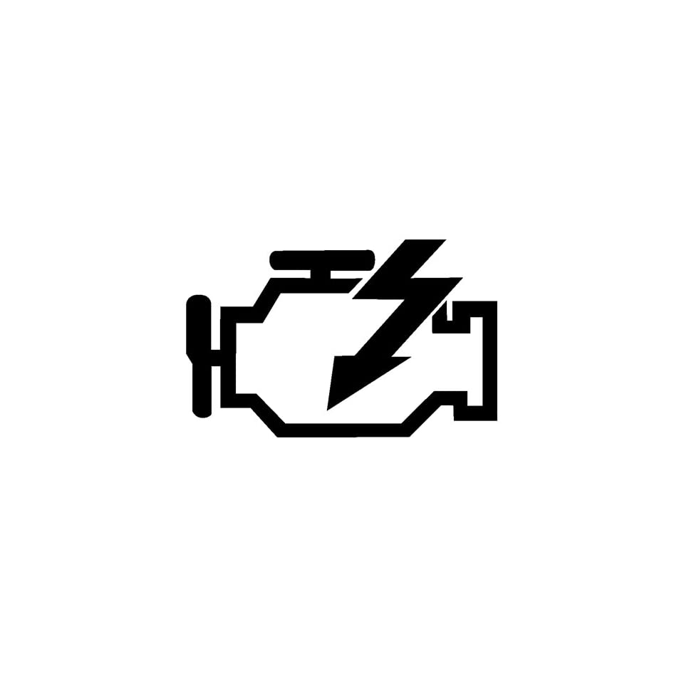 CHECK ENGINE LIGHT   5 BLACK   Vinyl Decal Sticker   NOTEBOOK, LAPTOP, WALL, WINDOW, CAR, TRUCK, MOTORCYCLE, ETC.