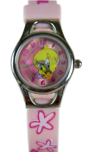 Looney Tunes - Tweety Bird Watch - Tweety - Rotating Disc with Flowers - Pink Metallic Dial with Soft Pink Trendy Wrist Band with Floral Designs