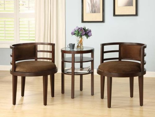 Bon Sophias Galleria 3 Piece Accent Chair And Side Table Set, Espresso Finish