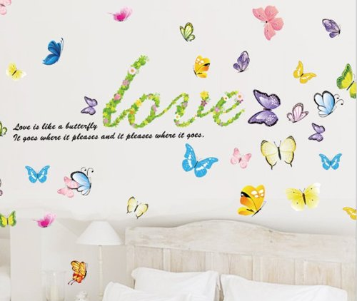 Toprate(Tm) Colorful Vivid Vibrant Butterflies - Reusable Easy Instant Decoration Wall Sticker Decal Peel & Stick For Nursery Baby Girls Kid'S Room