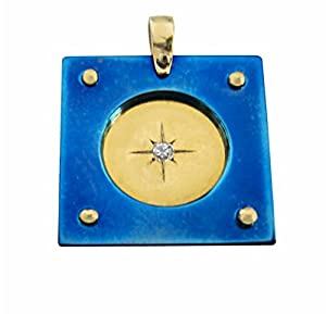 Blue Titanium Square Pendat combined with Silver Vermeil Diamond