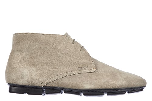 Prada mens suede desert boots lace up ankle boots calfskin stone grey