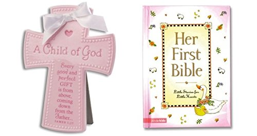 Child of God Ceramic Cross in Pink and Her First Bible - 1
