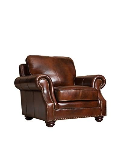 Abbyson Living Karington Hand Rubbed Leather Armchair, Tobacco Brown