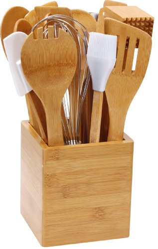 Cook-N-Home 15-Piece Bamboo Tool-In-A-Tub Set