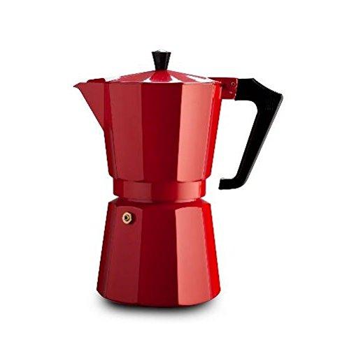 Pezzetti Stove-Top Espresso Coffee Maker Moka Pot - 3,6 Cup - Black/White/Red (6 Cup, Red)