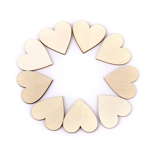 NUOLUX 100pcs Wood Slice 20mm Embellishments DIY Craft Wedding Decor Table Confetti