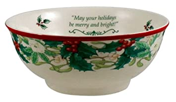 #!Cheap Spode Christmas Tree Annual Border 70th Anniversary Candy Bowl 6 inch - May Your Holidays be Merry & Bright