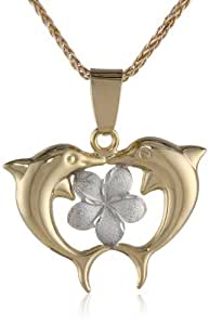 14k Two-Tone Bonded Gold and Silver Dolphin Pendant Necklace, 16""
