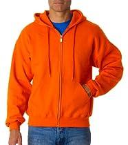 Gildan Adult Soft Pouch Pockets Full-Zip Hooded Sweatshirt, Safety Orange, M