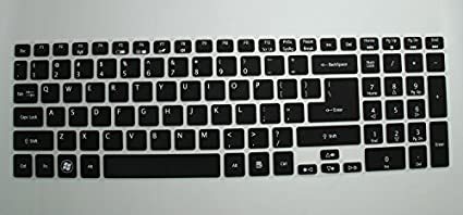Saco-Keyboard-Protector-Silicone-Skin-Cover-for-ACER-ASPIRE-V-NITRO-VN7-591G-74X2-15.6-inch-laptop-Black-with-Clear