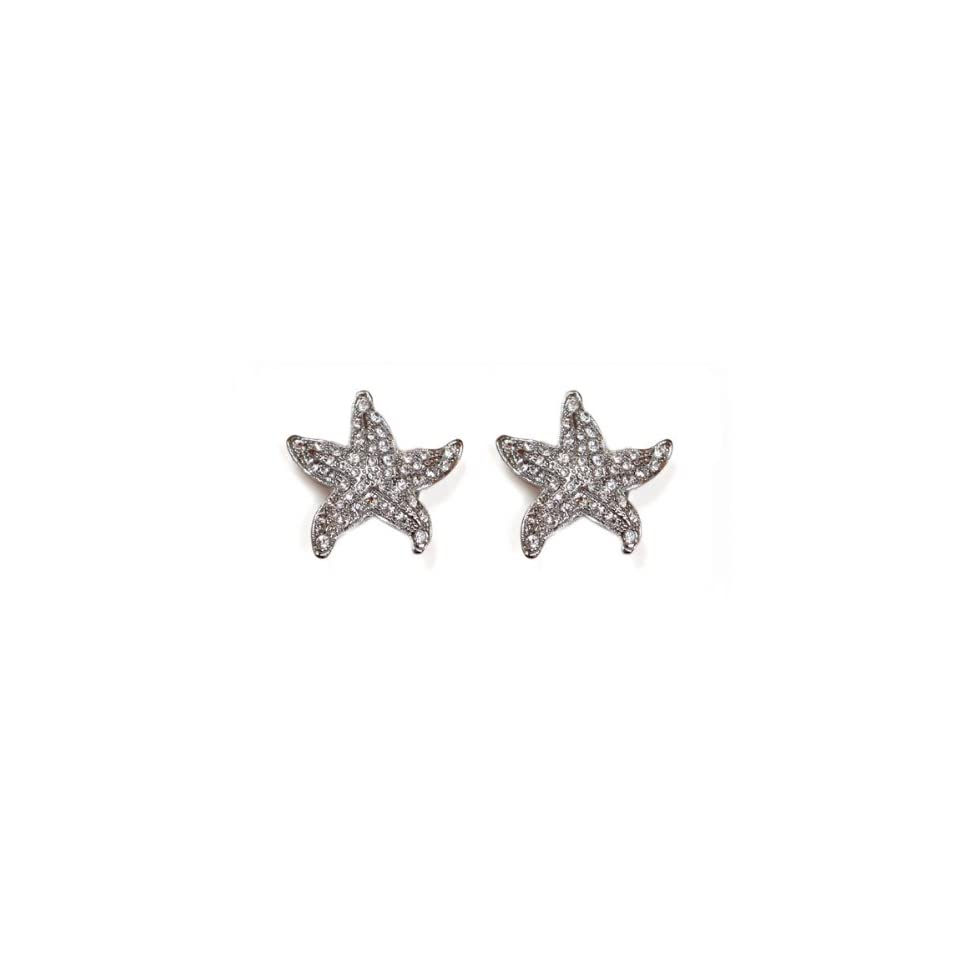 Sassy Clips Small Starfish, Silver with Clear Crystal Rhinestones