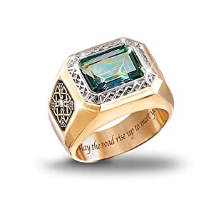 Diamond And Mystic Topaz Men's Ring: Pride Of Ireland by The Bradford Exchange