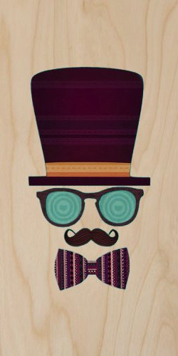 Top Hat, Glasses, Mustache, & Bow Tie - Plywood Wood Print Poster Wall Art front-995519