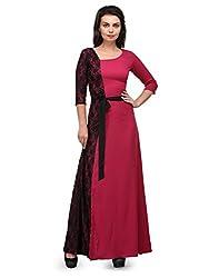 Bumpkin Womens Polyester|Net Dress (B1025_Maroon_L _Maroon _Large)