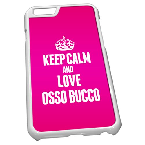 Blanc Coque pour iPhone 6 1333 Rose Keep Calm and Love osso bucco