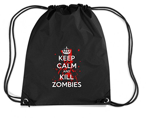 T-Shirtshock - Zaino Zainetto Budget Gymsac TZOM0040 keep calm and kill zombies (3), Taglia Capacita 11 litri