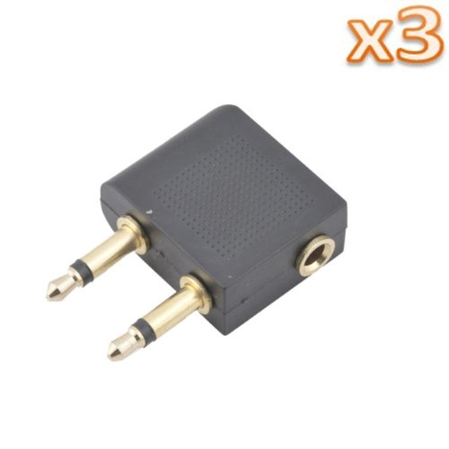 Niceeshop(Tm) 3Pcs X 3.5Mm Female To Dual 3.5Mm Male Airline Headphone Adapter For Airplanes/Flying