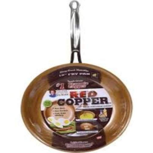 Red Copper Ceramic Non-Stick 10in Cookware Pan (Red Pans compare prices)