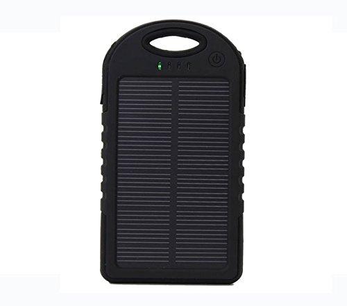 最安 5000mAh防水/防塵/耐衝撃アウトドア向けソーラー 充電器 ソーラーバッテリー 大容量 iPhone・iPad・スマートフォン(スマホ)対応 LEDライト付 モバイルバッテリー /リチウムイオンポリマーバッテリー 極薄・超軽量(ブラック)