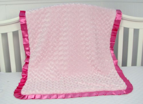New Boutique Roses Minky Chenille Baby Blanket - Super Soft ! (Pink) front-645803