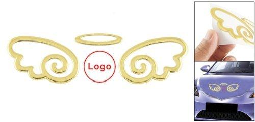 Décorations de voitures Auto 3D Ange autocollant emblème Decal Logo Gold Tone