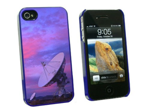 Graphics And More Very Large Array Vla Radar Telescope Dishes New Mexico At Sunset - Snap On Hard Protective Case For Apple Iphone 4 4S - Blue - Carrying Case - Non-Retail Packaging - Blue