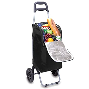 Picnic Time Insulated Cart Cooler with Wheeled Trolley, Black