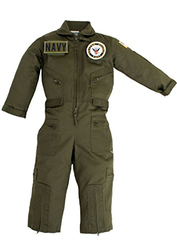 Kids Military Replica OD Green Flight Suit US Navy Patches X-Large 9-10