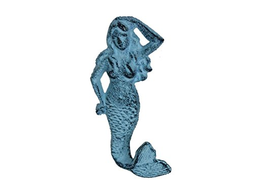 "Hampton Nautical  Rustic Dark Blue Whitewashed Mermaid Hook 6"" Decorative Cast Iron Wall Hook"