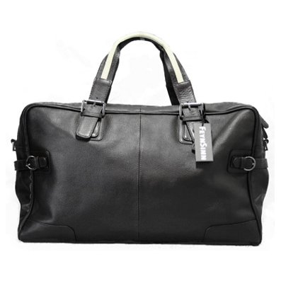 Large travel duffle bag ROBERTO by BACCINI - leather weekender (holdall) - black (50 x 32 x 17 cm)