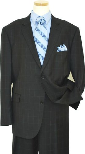 Elements by Zanetti Black With Sky Blue Pinstripes Super 120's Wool Suit 91/005/0383 (US 52R/Euro 62 - 46 in. Waist)
