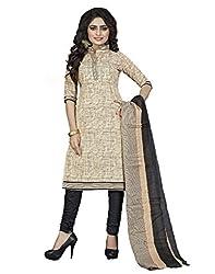 EmporioDeals Women's Ethnic Salwar Suit Dupatta Unstitched Dress Material(CS-7_Beige)