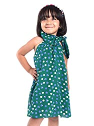 Oye Girls Dress with Tie-up Neck - Green (1-2Y)