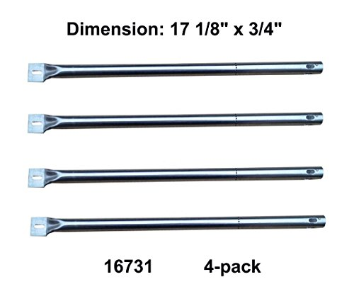 """16731(4-pack) BBQ Pipe Tube Gas Grill Burner Replacement for Select Gas Grill Models By Amana, Surefire and Others (17 1/8"""" X 3/4"""")"""