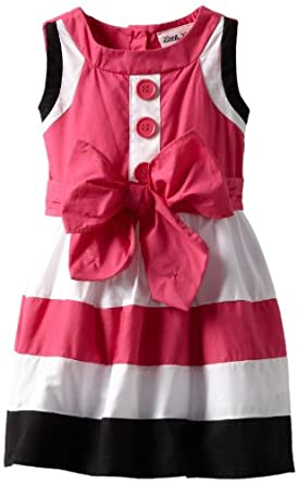 Little Lass Baby-girls Infant 1 Piece Multi Colorblock Dress, Black/Pink, 18 Months