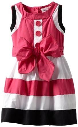 Little Lass Baby-girls Infant 1 Piece Multi Colorblock Dress, Black/Pink, 18 Months