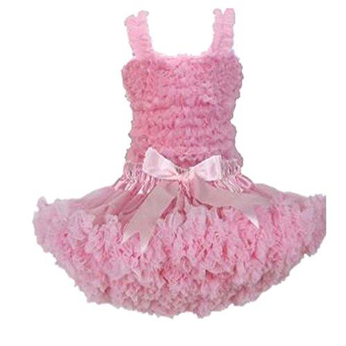 [Buenos Ninos Girl's Pure Chiffon Dance Pettiskirt Tutu Set Various Color Pink 7-8T] (Companies Make Dance Costumes)