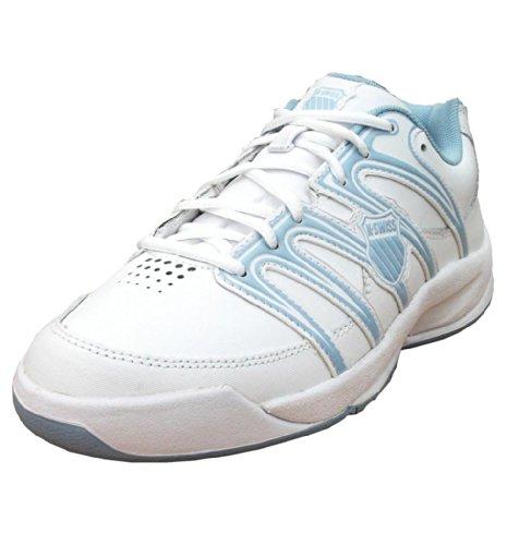 K-Swiss Optim IV Omni Boy's Leather Tennis Sports Trainers Shoes white/blue