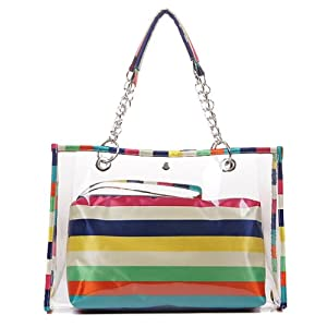 Chens Brüder Semi-clear Beach Tote Bag / Swimming Tote Bag / Shoulder Tote Bag (B Type Colored Stripes)