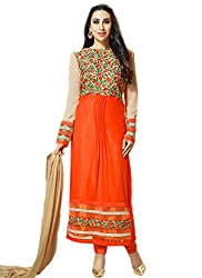 Orange Embroidered Georgette Straight Suit Semi Stitched Max-42