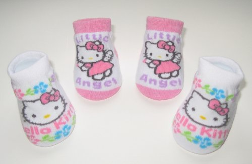 Hello Kitty Newborn Infants Baby Pink Angel Flower Design Booties 0-12months Two Pairs; New in Box + Free 3.5mm Anti Dust Plug Random Pick