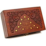 Store Indya Meticulously Hand Carved Rosewood Box Organizer With Fine Brass Inlay In Floral Patterns (8X5X2.5)...