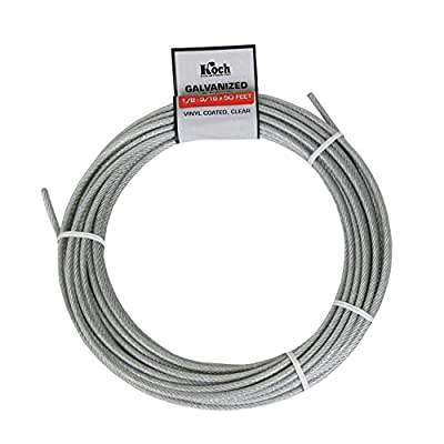 Koch A41134 7 x 7 Pre-cut Vinyl Coated Galvanized Wire Rope Cable 1/8-3/16-Inches by 50-Feet, Coil, Clear acquired from Koch Industries