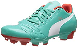 PUMA Evopower4 FG JR Soccer Shoe (Little Kid/Big Kid),Pool Green/White/Grenadine/Turbulence,1 M US Little Kid